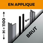 KIT GARDE-CORPS BALCON A LA FRANçAISE - Hauteur 1100 mm - Aluminium BRUT - Verre hors fourniture
