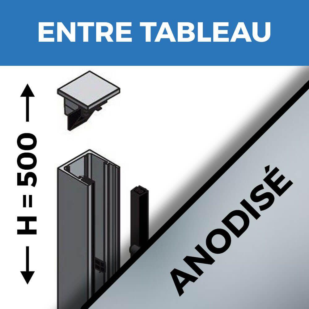 KIT GARDE-CORPS BALCON A LA FRANçAISE - Hauteur 500 mm - Aluminium anodisé naturel - Verre hors fourniture