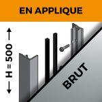 KIT GARDE-CORPS BALCON A LA FRANçAISE - Hauteur 500 mm - Aluminium BRUT - Verre hors fourniture