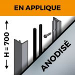 KIT GARDE-CORPS BALCON A LA FRANçAISE - Hauteur 700 mm - Aluminium anodisé naturel - Verre hors fourniture