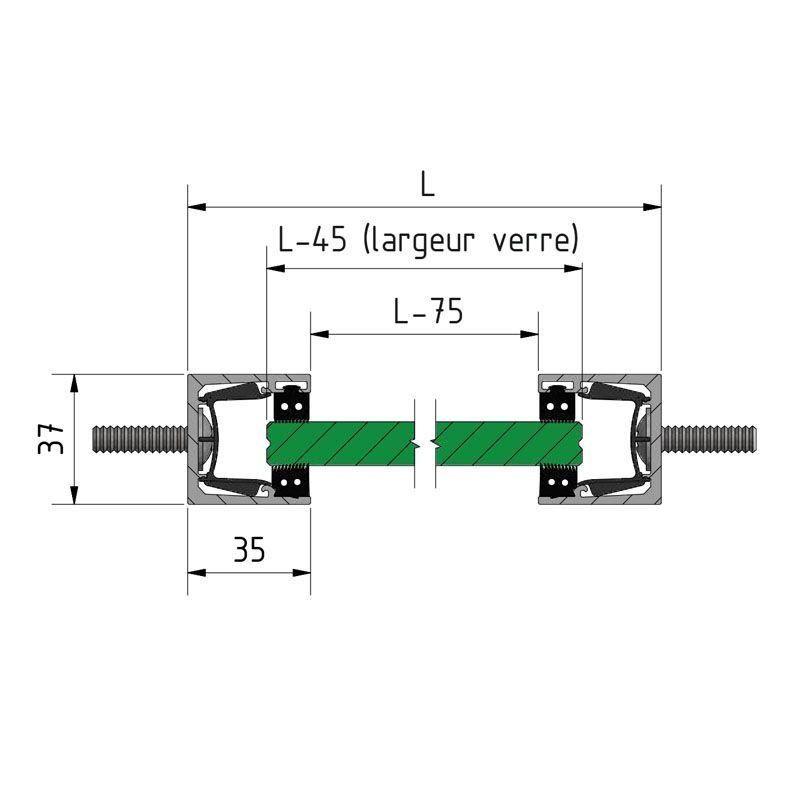 KIT GARDE-CORPS BALCON A LA FRANçAISE - Hauteur 900 mm - Aluminium anodisé naturel - Verre hors fourniture