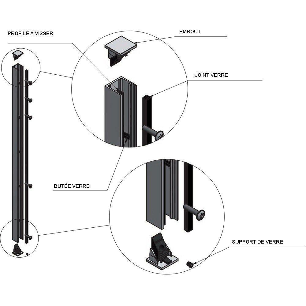 KIT GARDE-CORPS BALCON A LA FRANçAISE - Hauteur 900 mm - Aluminium BRUT - Verre hors fourniture