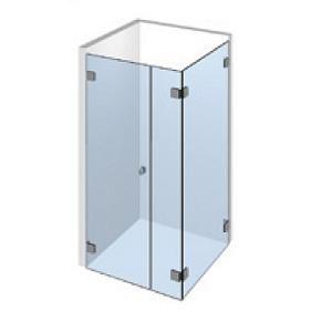Kit porte de douche d\'angle sur paroi fixe droite