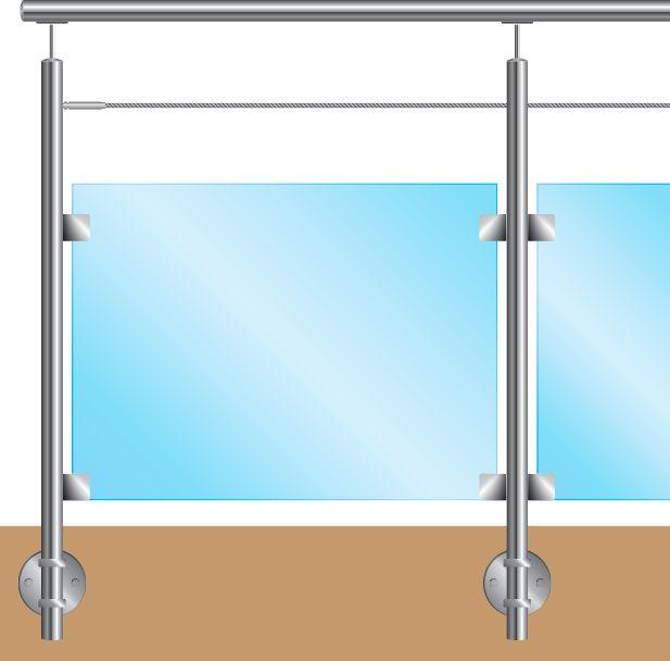 KIT POTEAU - FIXATION à L\'ANGLAISE - Ø42,4 x 2 mm - 1 CABLE Ø4 mm + VERRE