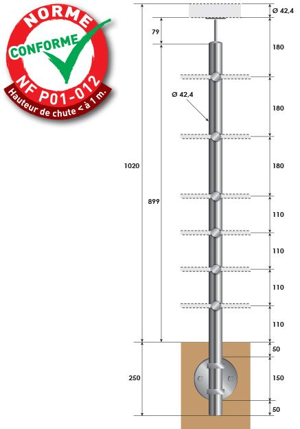 KIT POTEAU - FIXATION à L\'ANGLAISE - Ø42,4 x 2 mm - 6 TIGES Ø12 mm