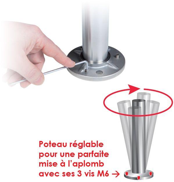KIT POTEAU - FIXATION à LA FRANçAISE - Ø42,4 x 2 mm - 2 TIGES Ø12 mm + VERRE