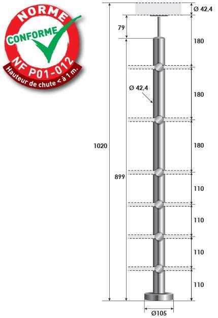 KIT POTEAU - FIXATION à LA FRANçAISE - Ø42,4 x 2 mm - 6 TIGES Ø12 mm