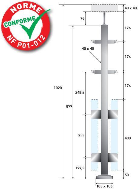 KIT POTEAU CARRé - FIXATION à LA FRANçAISE - 40 x 40 x 2 mm - 2 TIGES Ø12 mm + VERRE