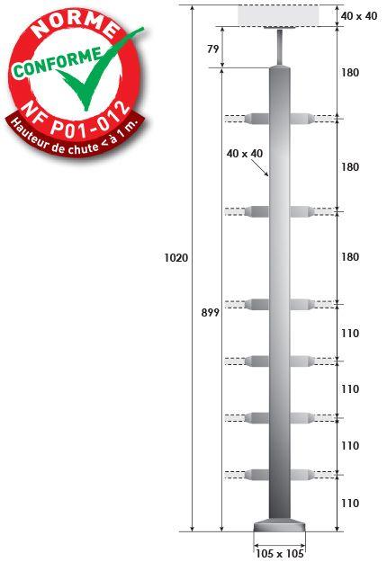 KIT POTEAU CARRé - FIXATION à LA FRANçAISE - 40 x 40 x 2 mm - 6 TIGES Ø12 mm