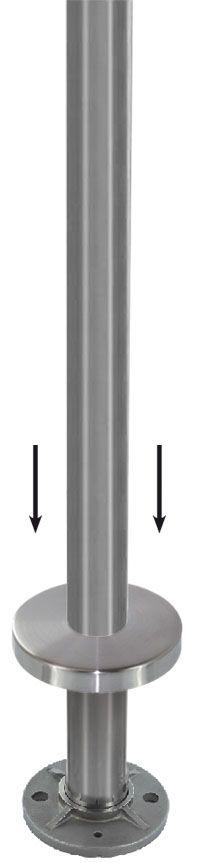 Kit poteau de balustrade modèle 24 poli miroir - H 970 mm