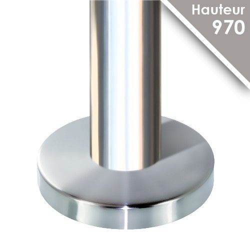Poteau inox poli miroir h 970 mm for Acier poli miroir