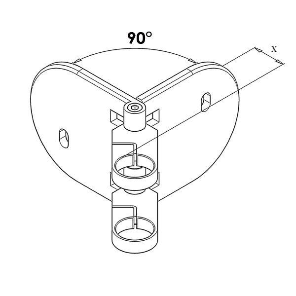 Kit poteau de balustrade modèle 85 - H 1200 mm
