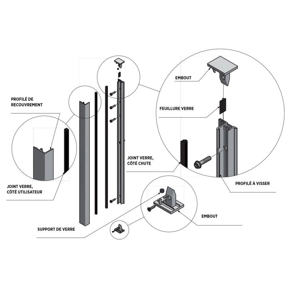 KIT SKY FORCE - Hauteur 900 mm - Aluminium BRUT