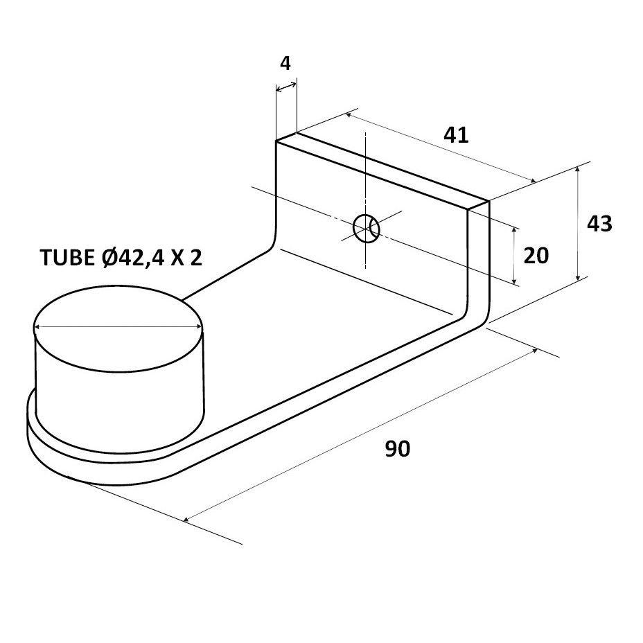 Lot de 4 embouts droits Optima Inox 316L - pour poignée sur mesure Ø42,4 mm