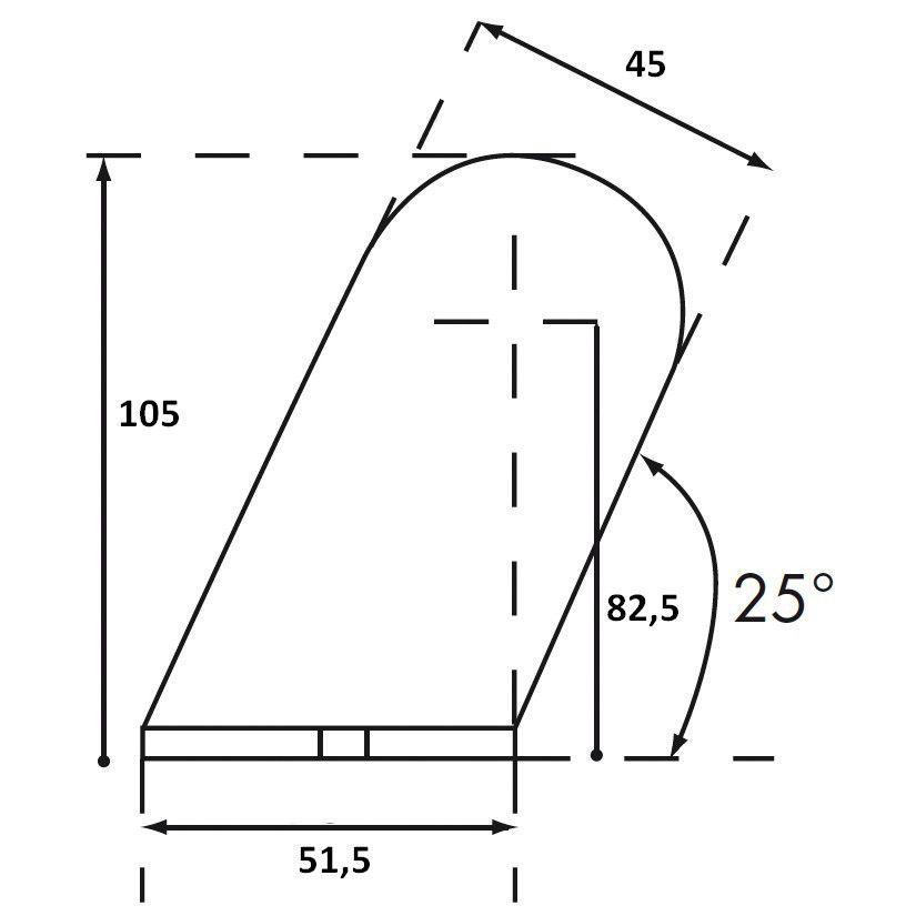Lot de 4 embouts obliques Optima Inox 316L - pour poignée sur mesure Ø42,4 mm