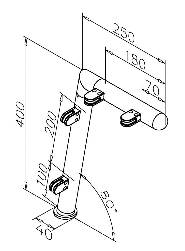 Modèle 901 - fixation 3 points - Ø 25,4 mm - Aspect inox brossé