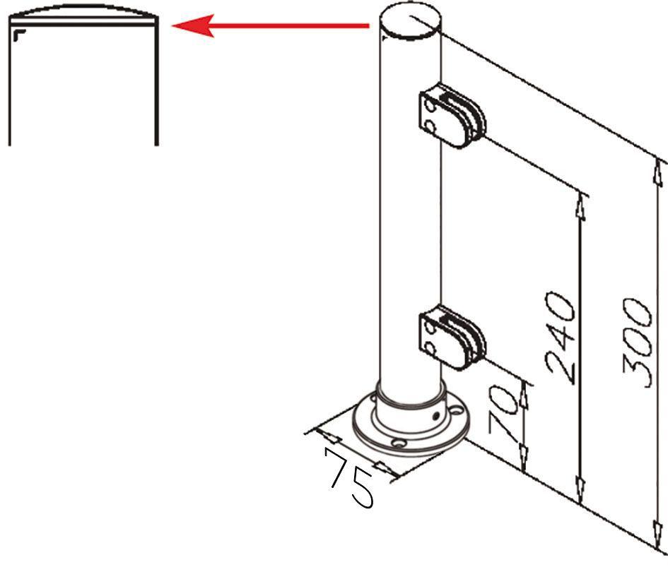 Modèle 903 - fixation 3 points - Ø 38,1 mm - Aspect inox brossé