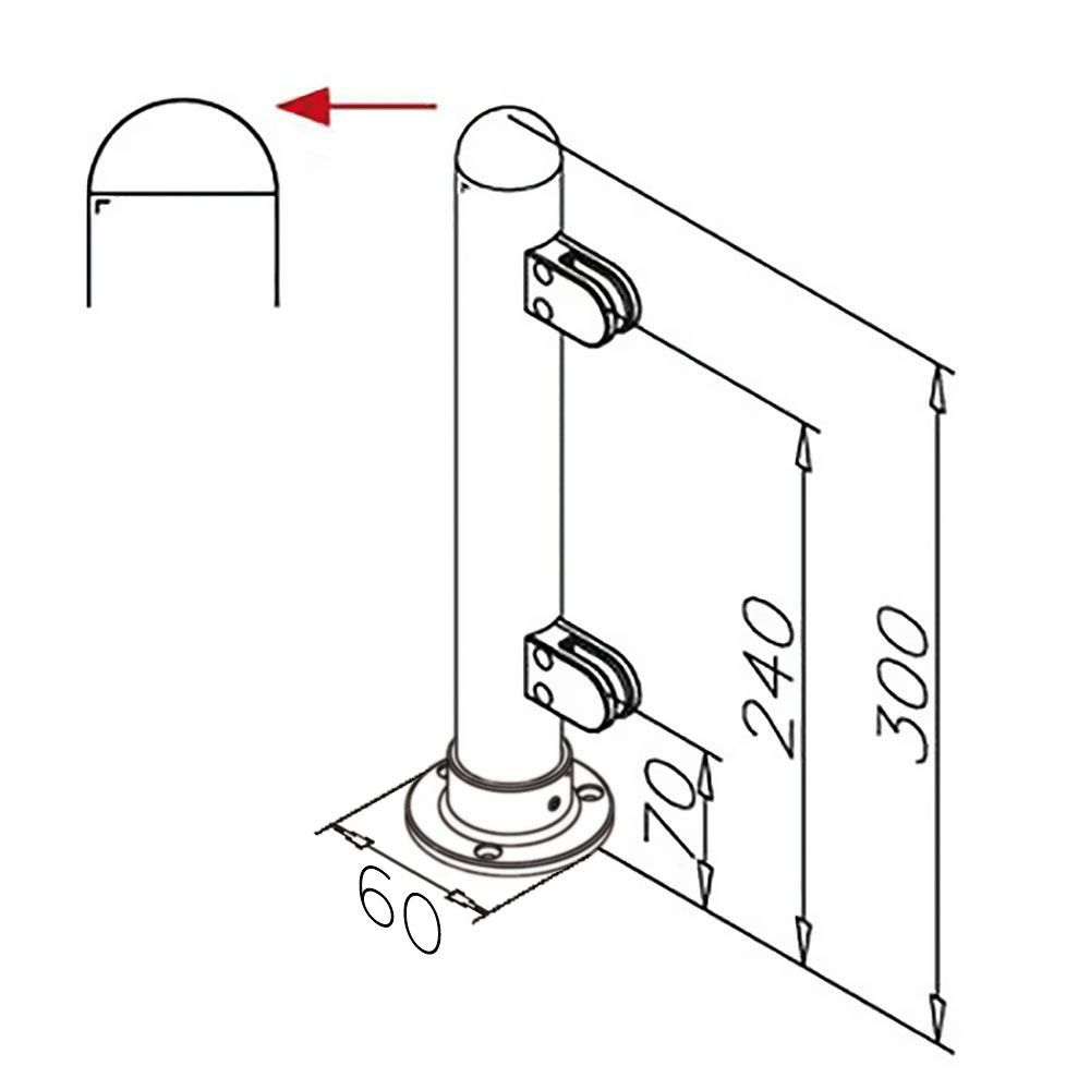 Modèle 904 - fixation 3 points - Ø 25,4 mm - Aspect inox brossé