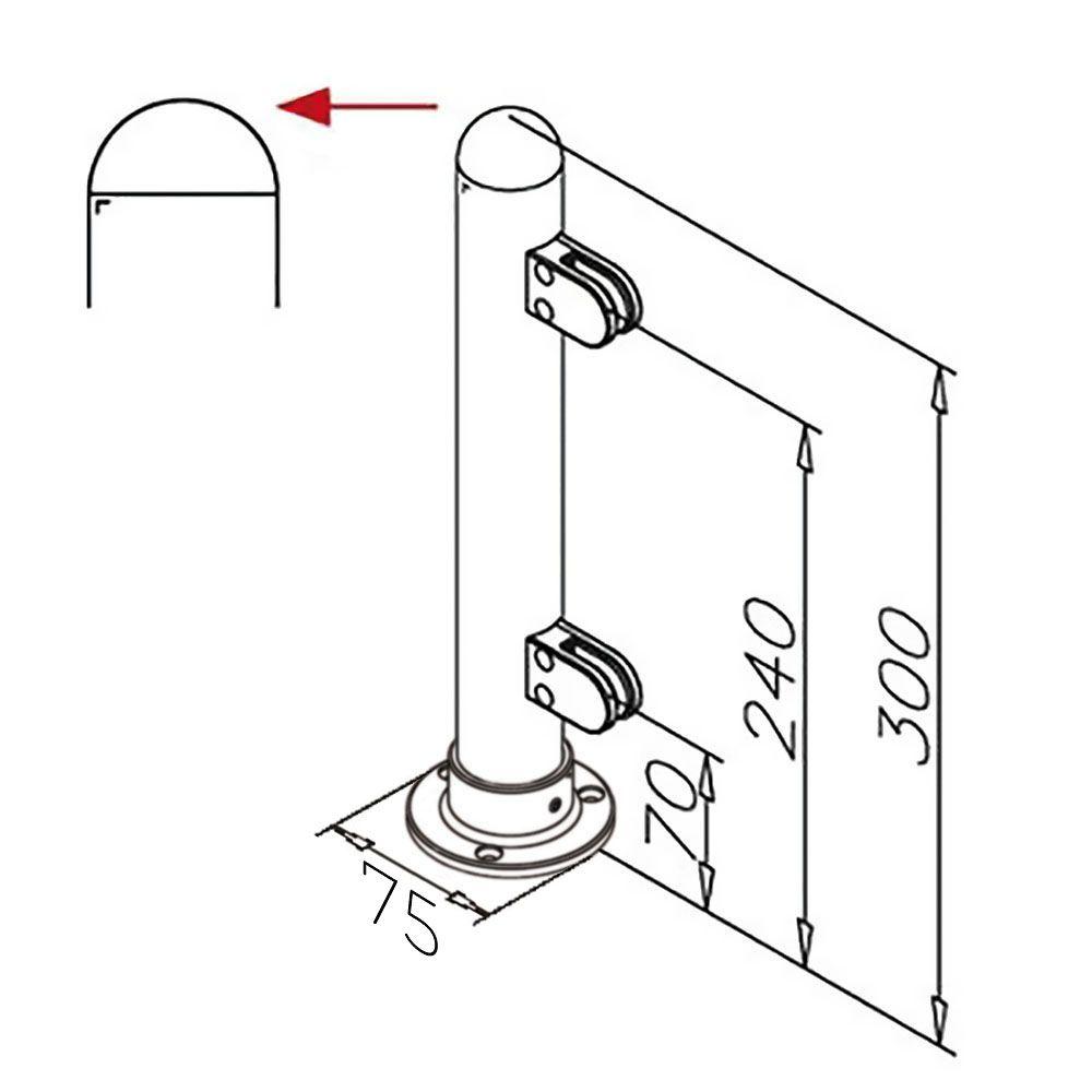 Modèle 904 - fixation 3 points - Ø 38,1 mm - Aspect inox brossé