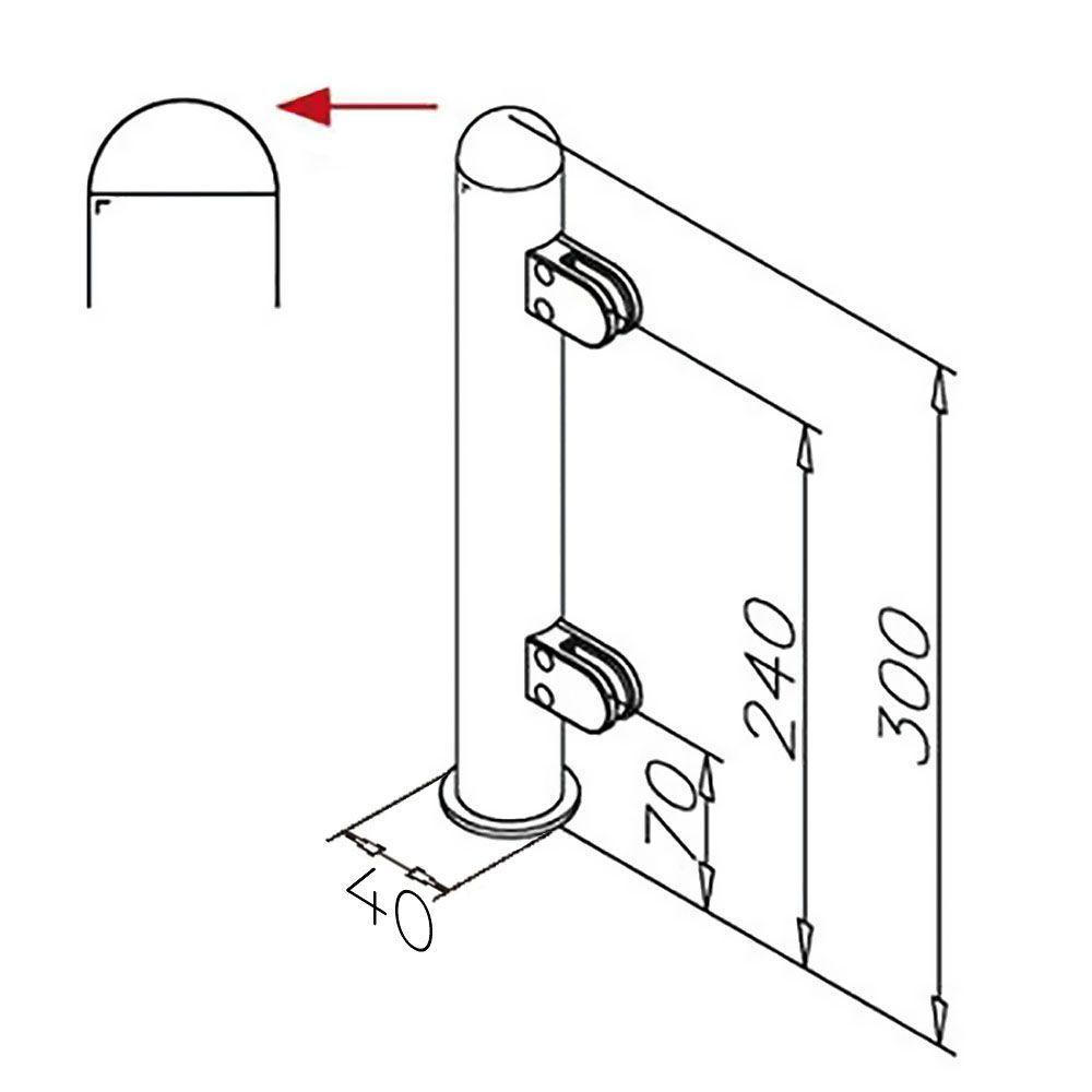 Modèle 904 - fixation invisible - Ø 25,4 mm - Aspect inox brossé