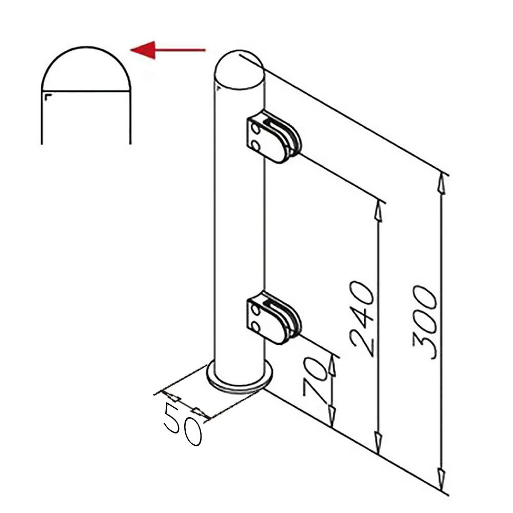 Modèle 904 - fixation invisible - Ø 38,1 mm - Aspect inox brossé