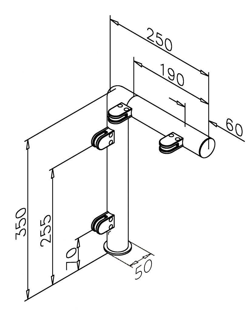 Modèle 908 - fixation invisible - Ø 38,1 mm - Aspect inox brossé