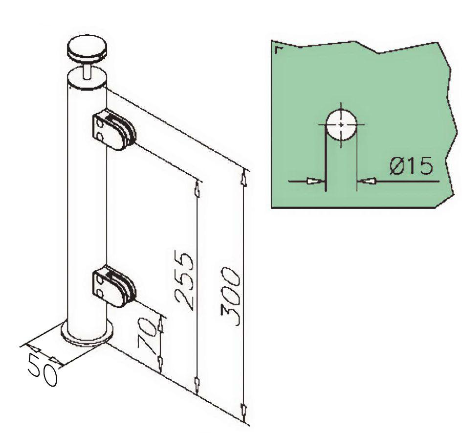 Modèle 909 - fixation invisible - Ø 38,1 mm - Aspect inox brossé