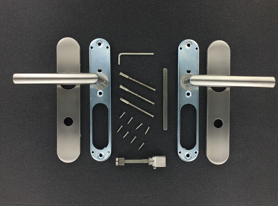 Paire de béquille angulaire sur plaque de porte - INOX 304