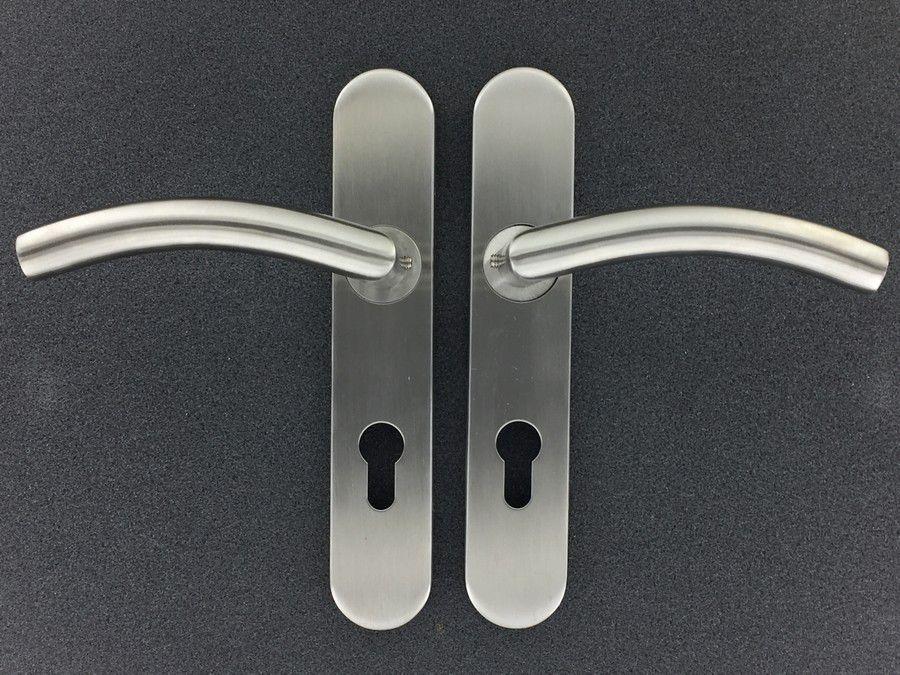 Paire de béquille cintrée sur plaque de porte - INOX 304
