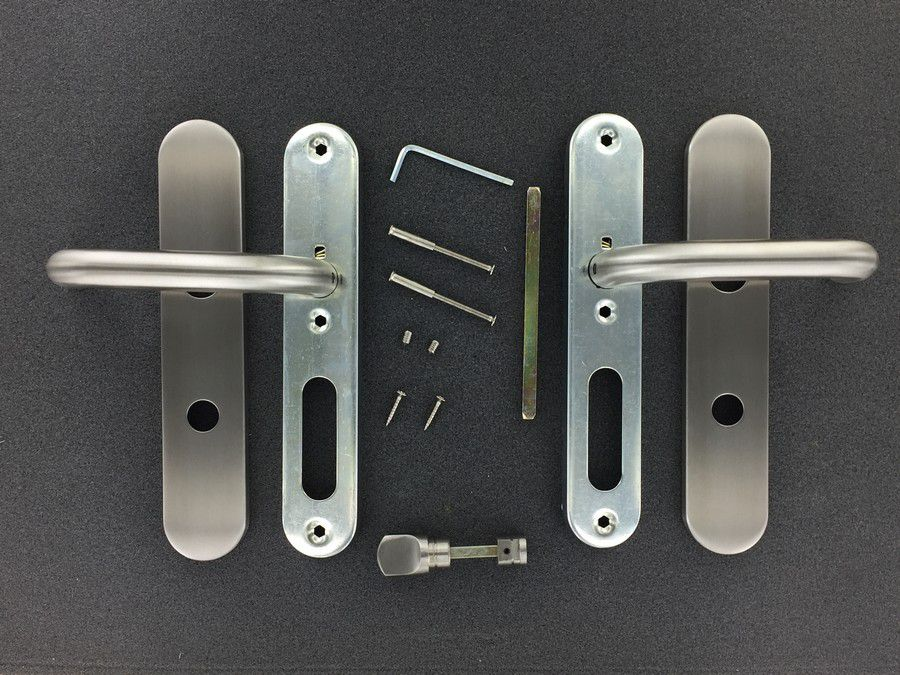 Paire de béquille coudée sur plaque de porte - INOX 304