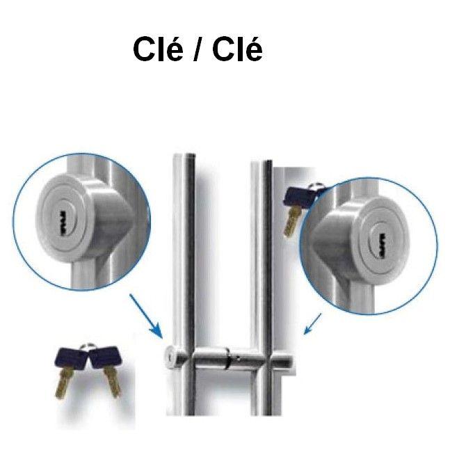 Paire de poignée tubulaire Ø35 mm avec fermeture à clé