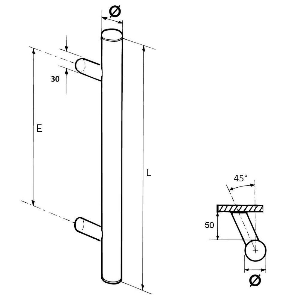 Paire de poignées bâton maréchal désaxées aluminium anodisé naturel