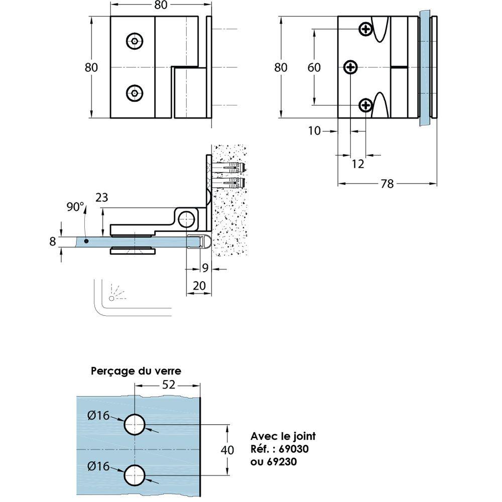 Penture simple action verre/mur 90° - Fixation extérieure - Ouverture droite tirant