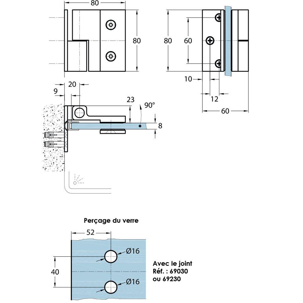 Penture simple action verre/mur 90° - Fixation intérieure - Ouverture droite tirant