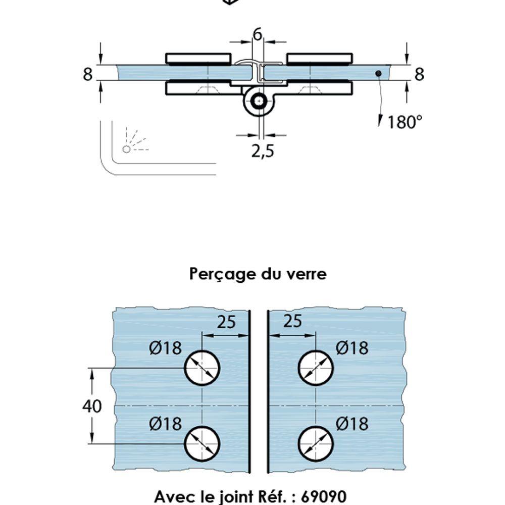 Penture simple action verre/verre 180° - Ouverture simple action intérieure