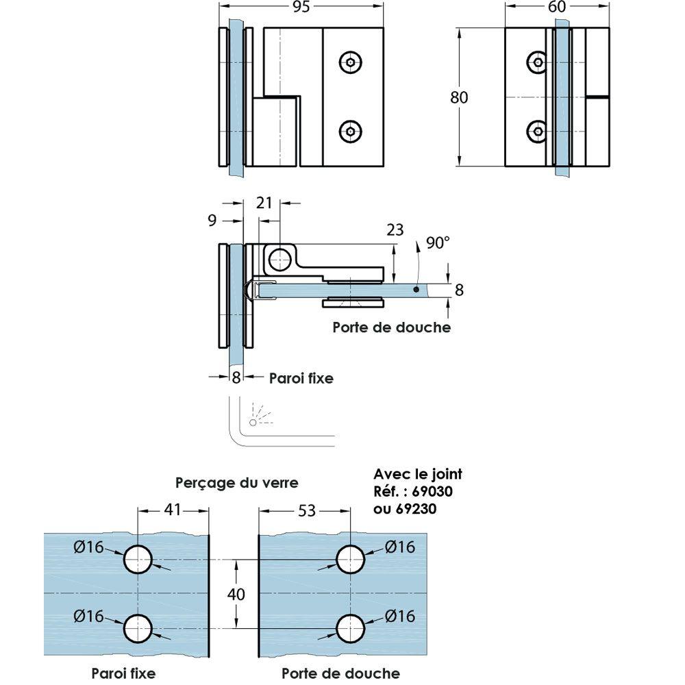 Penture simple action verre/verre 90° - Ouverture droite tirant