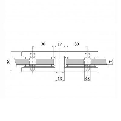 Pince à verre de liaison 180° - INOX 316