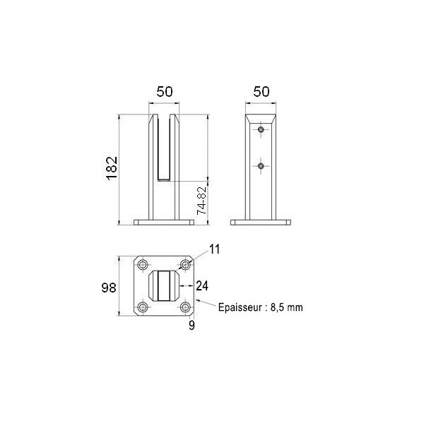 Pince à verre de sol - Modèle 02 - sans perçage du verre - hauteur du verre réglable