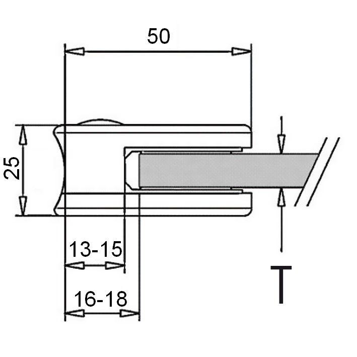 Pince à verre INOX - Modèle 10 - 40 x 50 mm - sans caoutchouc