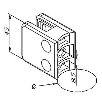 Pince à verre INOX - Modèle 11 - 45 x 45 mm - sans caoutchouc