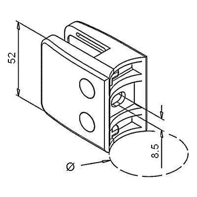 Pince à verre INOX - Modèle 26 - 52 x 52 mm - sans caoutchouc