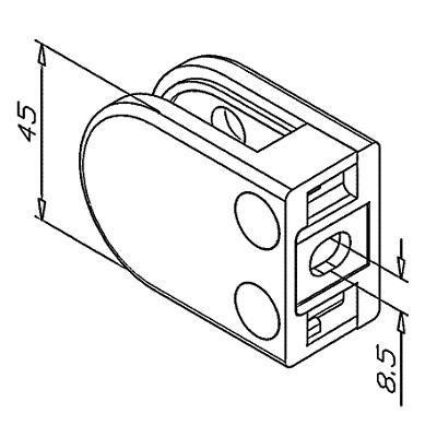 Pince à verre INOX 316 Poli Miroir - Modèle 02 - 45 x 63 mm