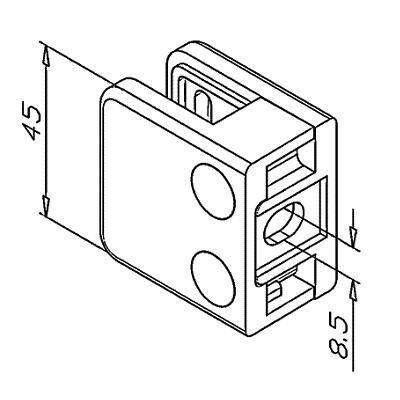 Pince à verre ZAMAK - Modèle 11 - 45 x 45 mm - sans caoutchouc
