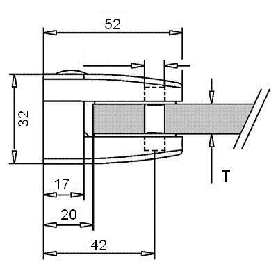 Pince à verre ZAMAK - Modèle 26 - 52 x 52 mm - sans caoutchouc