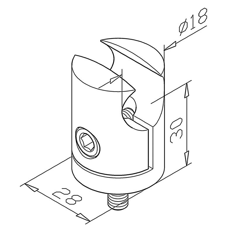 Pince pour profil Ø18 mm sur profil plat