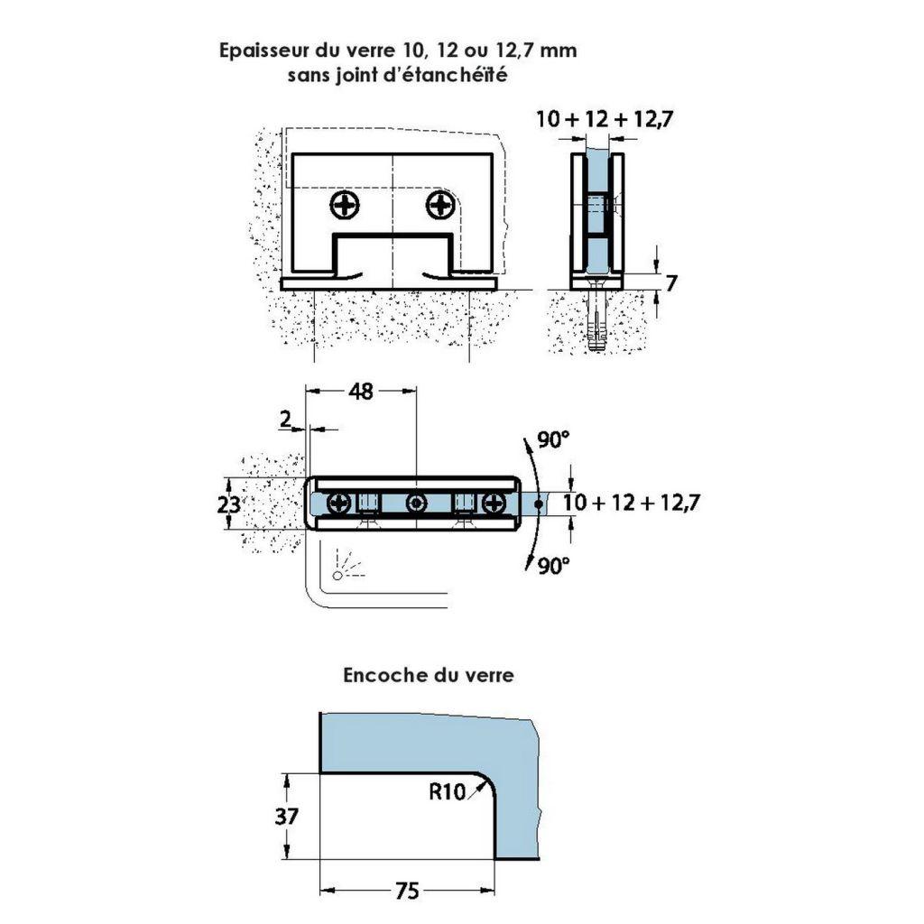 Pivot pour porte en verre Ep. 10-12 mm