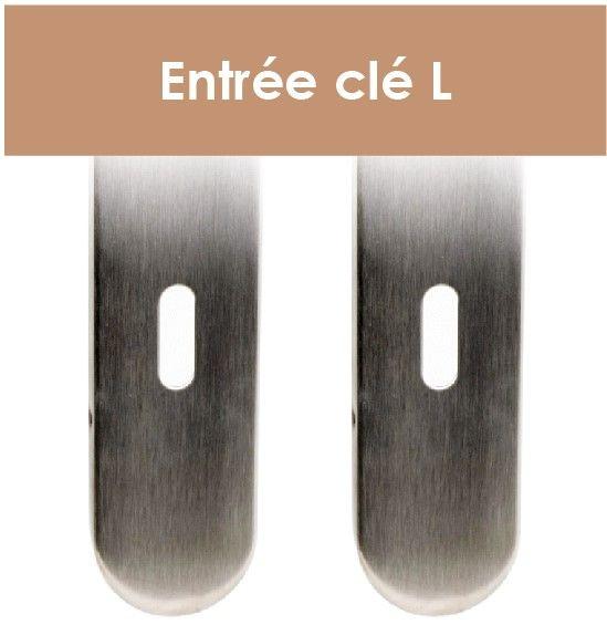 Plaque de porte inox avec béquille ronde coudée