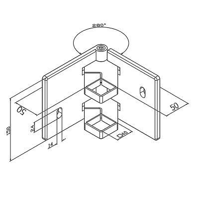 Platine de fixation d\'angle modèle carré