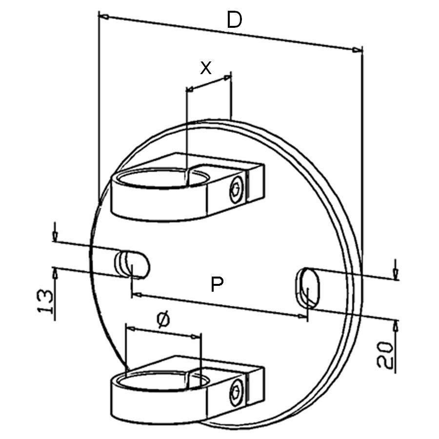 Platine de fixation modèle 51 - Ø150 mm