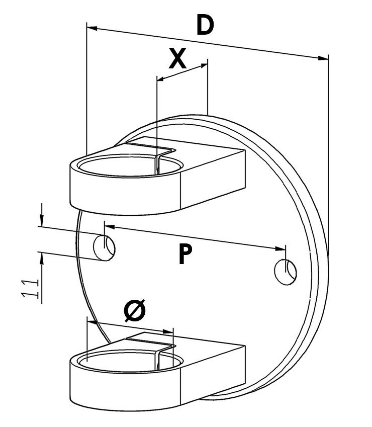Platine de fixation modèle 53 - Ø120 mm